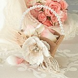 Lillian Rose Burlap and Lace Collection Flower Basket