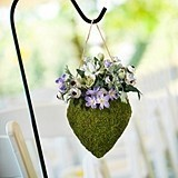 Lillian Rose Heart-Shaped Moss-Covered Hanging Basket