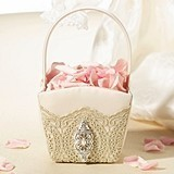 Lillian Rose Vintage Gold Lace Flower Basket