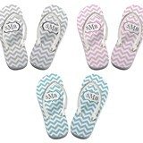 Lillian Rose Personalized Chevron Pattern Flip-Flops