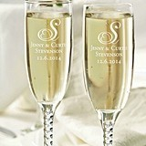 Personalized Toasting Glasses with Heart Monogram (Set of 2)