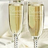 Personalized Champagne Glasses with Script Last Name (Set of 2)