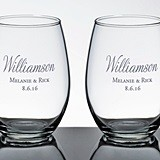 Personalized Stemless Wine Glasses with Script Last Name (Set of 2)
