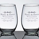 Personalized Stemless Wine Glasses with Scrolls and Names (Set of 2)