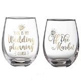 Lillian Rose 'Bride to Be' Theme 18oz Stemless Wine Glasses (Set of 2)