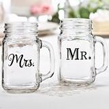 Lillian Rose Mr. & Mrs. Mason Jar Mugs (Set of 2)