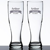Personalized Pilsner Glasses with Name and Banner (Set of 2)