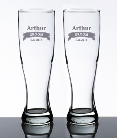 personalized pilsner glasses with name and banner set of 2