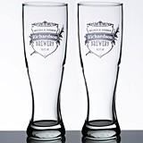 Lillian Rose Personalized Crest Design Pilsner Glasses (Set of 2)
