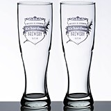 Lillian Rose Personalized Crest Design Pilsner Glasses (Set of 2)