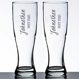 Personalized Wedding Party Pilsner Glasses (Set of 2)