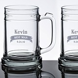 Personalized Beer Mugs with Name and Banner (Set of 2)