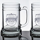 Personalized Crest Design Beer Mugs (Set of 2)