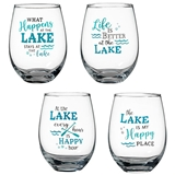 Lillian Rose 'At the Lake' 18oz Stemless Wine Glasses (Set of 4)