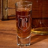 Monogrammed Shot Glasses with Gothic Shield Motif (Set of 4)