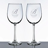 Personalized Large Wine Glasses with Heart Monogram (Set of 2)