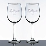 Personalized Large Wine Glasses with Script Last Name (Set of 2)