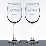 Personalized Large Wine Glasses with Scrolls and Names (Set of 2)