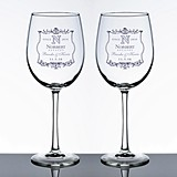 Personalized Vineyard Motif Wine Glasses (Set of 2)