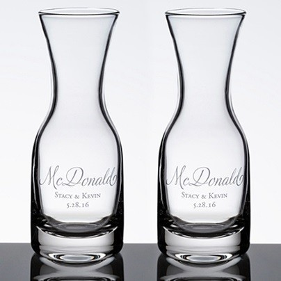 Personalized Wine Carafes With Script Last Name Set Of 2