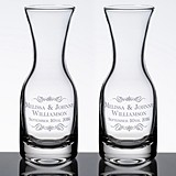 Personalized Wine Carafes with Scrolls and Names (Set of 2)
