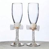 Lillian Rose Coastal Seashell Toasting Glasses (Set of 2)