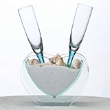 Lillian Rose Coastal Anchor Vase with Toasting Glasses, Sand and Shells