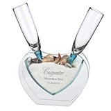 Personalized Heart Vase with Toasting Glasses, Sand and Shells