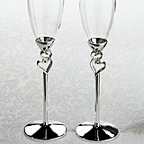 Lillian Rose Intertwined Silver Hearts Toasting Glasses (Set of 2)