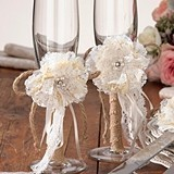 Lillian Rose Burlap & Lace Toasting Glasses (Set of 2)