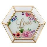 Lillian Rose Floral Watercolor Love Design Glass Trinket Dish