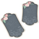 Chalkboard & Floral Motif Key Tags for Guest Signing (Set of 24)