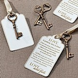 Christian-Theme Bronze Key Tags for Guest Signing (Set of 24)