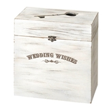 Lillian Rose Whitewashed-Wood Key Card Box with Wedding Wishes Design