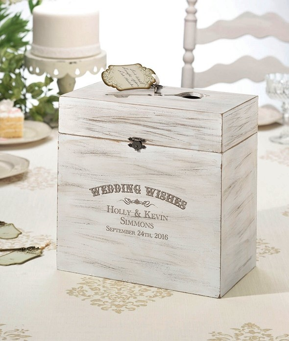 Lillian Rose Personalized Wooden Key Card Wedding Wishes Box