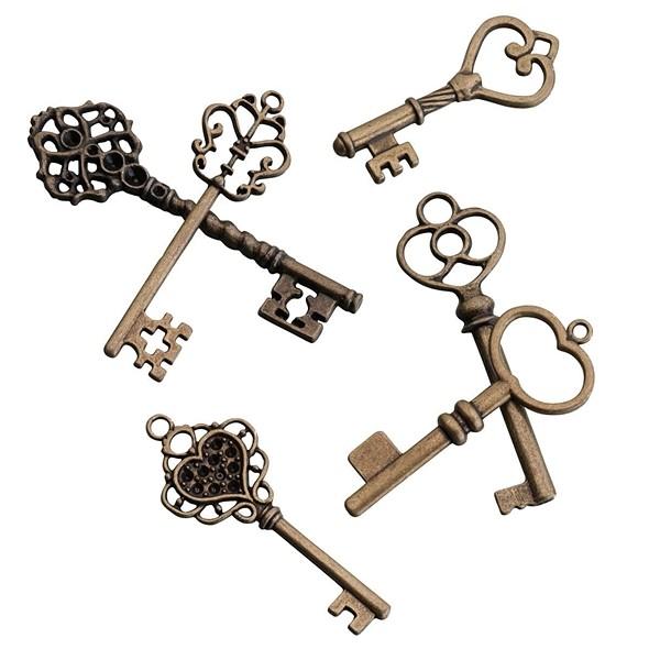 Lillian Rose Vintage-Inspired Bronze Keepsake Keys (Set of 24)
