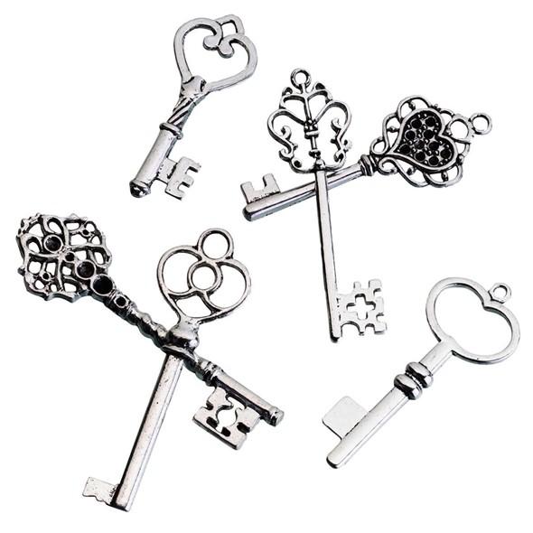 Lillian Rose Vintage-Inspired Silvered-Metal Keepsake Keys (Set of 24)