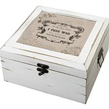 "Lillian Rose Antique White Wood ""I Thee Wed"" Card Box"