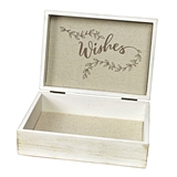 "Lillian Rose White-Wash Wooden ""Wishes"" Card Box"