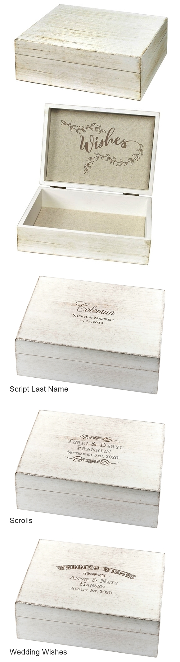 Lillian Rose Personalizable White-Wash Wooden 'Wishes' Card Box
