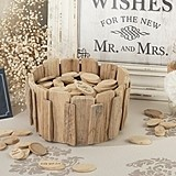 Lillian Rose Rustic Wood Chip Holder and Guest Signing Wood Chips Set