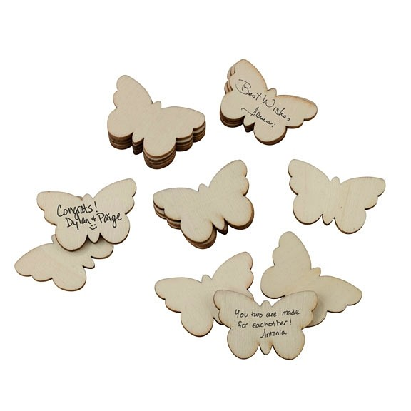 Wooden Signing Butterflies as a Guest Book Alternative (Set of 49)