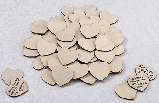 Wooden Signing Hearts as a Guest Book Alternative (Set of 48)