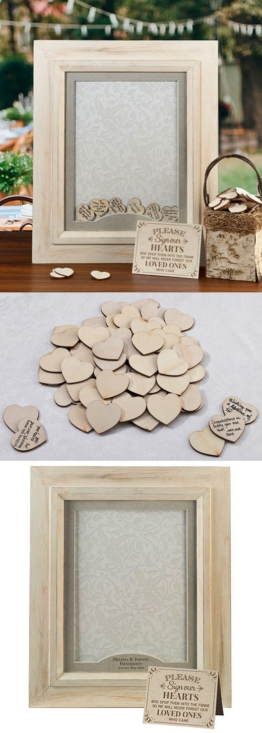 Lillian Rose Signing Hearts Shadow Box Frame with Wood Signing Hearts