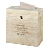 Lillian Rose Personalized Scrolls Motif Rustic Wooden Card Box