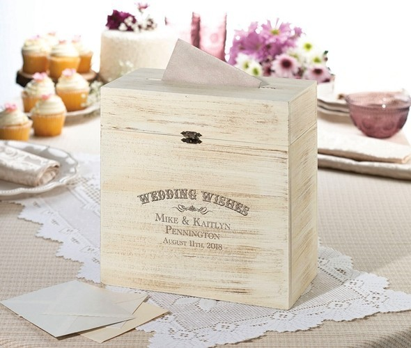 """Lillian Rose """"Wedding Wishes"""" Rustic Wooden Card Box"""