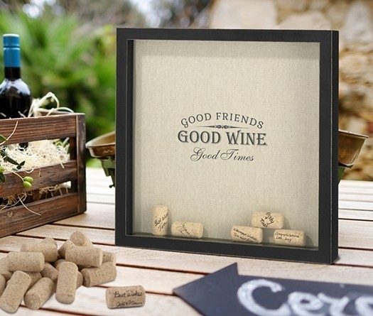 Lillian Rose Shadow Box Frame for Signing Corks with Good Wine Design