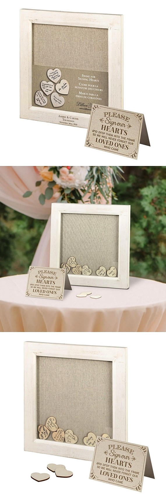 Lillian Rose Personalizable Square Guest Signing Hearts Frame