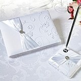 Lillian Rose White Floral Lace Guest Book and Pen Set
