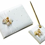 Lillian Rose Coastal Seashell Guest Book and Pen Set